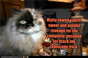 Matty vowed   swift.. sweet and painful revenge for the completly uncalled for black ink telescope trick.