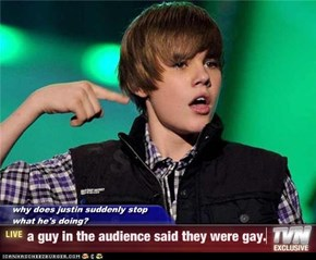 why does justin suddenly stop what he's doing? - a guy in the audience said they were gay.