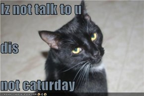 Iz not talk to u dis  not caturday