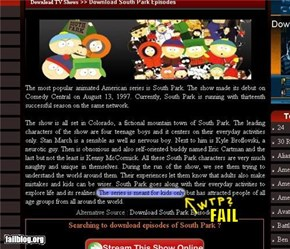 SouthPark for kids fail