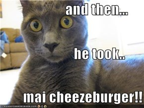 and then...                           he took..         mai cheezeburger!!