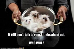 If YOU don't  talk to your kittehs about pot, . . .  WHO WILL?