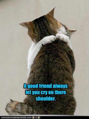 A good friend always let you cry on there shoulder.