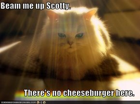 Beam me up Scotty.  There's no cheeseburger here.
