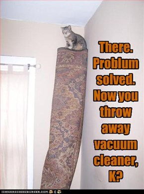 There. Problum solved. Now you throw away vacuumcleaner, K?
