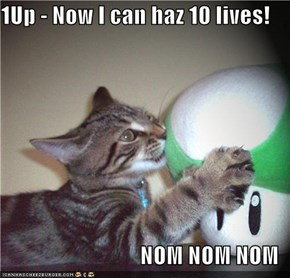 1Up - Now I can haz 10 lives!  NOM NOM NOM