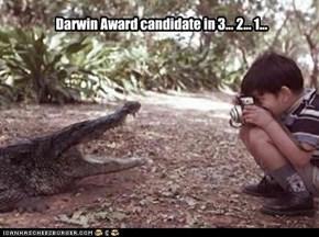 Darwin Award candidate in 3... 2... 1...