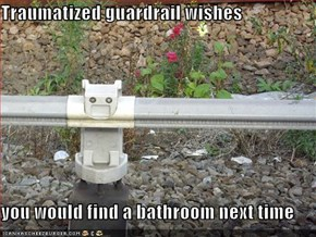 Traumatized guardrail wishes  you would find a bathroom next time