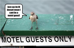 Just cuz im lil doesnt mean I cant be a motel guest!