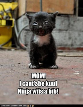MOM!   I cant'z be kuul Ninja wifs a bib!