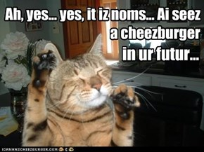 Ah, yes... yes, it iz noms... Ai seez  a cheezburger