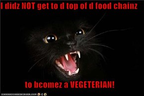 I didz NOT get to d top of d food chainz  to bcomez a VEGETERIAN!