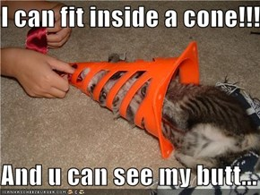 I can fit inside a cone!!!!  And u can see my butt...