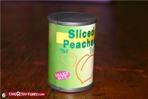 Toy tinned peaches, snake size