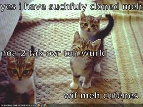 yes i have suchfuly cloned mehself noa 2 tak ovr teh wurld wif meh cutenes