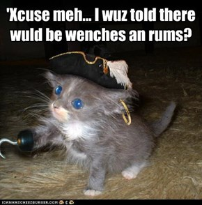 'Xcuse meh... I wuz told there wuld be wenches an rums?