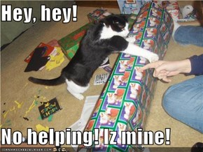 Hey, hey!  No helping! Iz mine!