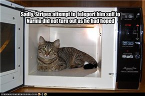 Sadly, Stripes attempt to  teleport him self to  Narnia did not turn out as he had hoped