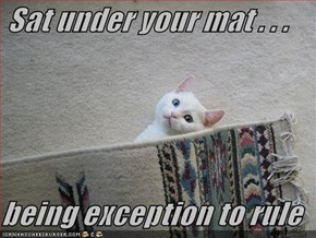 Sat under your mat . . .  being exception to rule