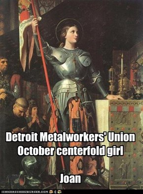 Detroit Metalworkers' Union October centerfold girl  Joan