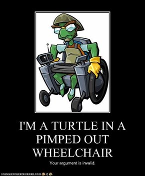 I'M A TURTLE IN A PIMPED OUT WHEELCHAIR