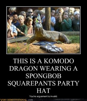 THIS IS A KOMODO DRAGON WEARING A SPONGBOB SQUAREPANTS PARTY HAT