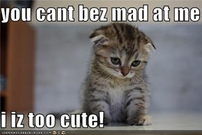 you cant bez mad at me   i iz too cute!