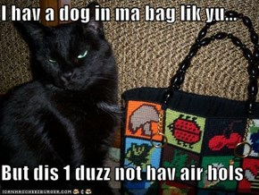 I hav a dog in ma bag lik yu...  But dis 1 duzz not hav air hols