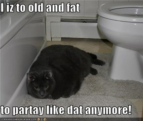I iz to old and fat  to partay like dat anymore!
