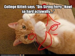 "College Kitteh says, ""Dis String Ferry - Nawt so hard actuwally...."""