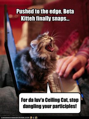 For da luv'a Ceiling Cat, stop dangling your participles!
