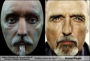 History Channel's 3D reconstruction of the face of William Shakespeare Totally Looks Like Dennis Hopper