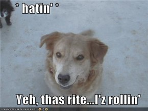 * hatin' *  Yeh, thas rite...I'z rollin'