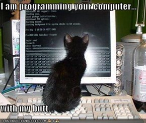 I am programming your computer...  with my butt...
