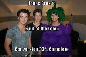 Jonas Bros to  Fruit of the Loom  Conversion 33% Complete