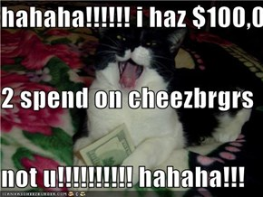 hahaha!!!!!! i haz $100,000 2 spend on cheezbrgrs not u!!!!!!!!!! hahaha!!!