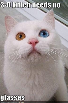 3-D kitteh needs no  glasses