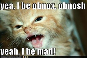 yea, I be obnox, obnosh  yeah, I be mad!