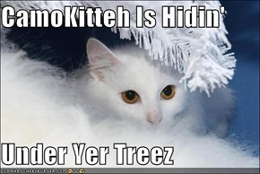 CamoKitteh Is Hidin'  Under Yer Treez