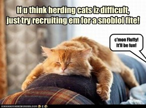 If u think herding cats iz difficult, just try recruiting em for a snoblol fite!