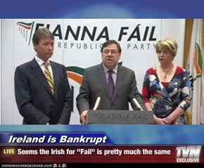 "Ireland is Bankrupt - Seems the Irish for ""Fail"" is pretty much the same"