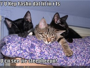Y U Kep Fashn dat lit in r Is  U cn see we sleepheepn!