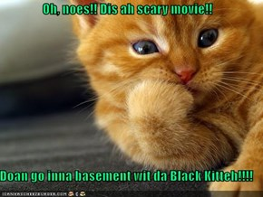 Oh, noes!! Dis ah scary movie!!  Doan go inna basement wit da Black Kitteh!!!!