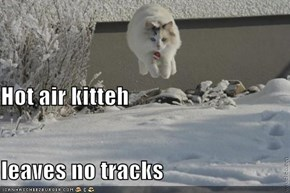Hot air kitteh leaves no tracks