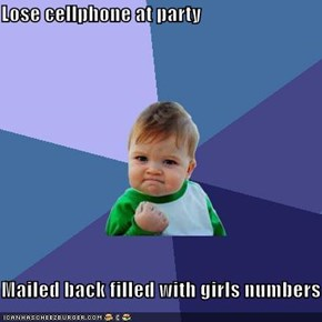 Lose cellphone at party  Mailed back filled with girls numbers