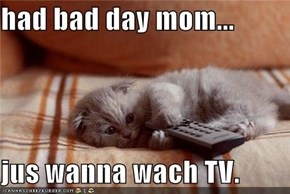 had bad day mom...  jus wanna wach TV.