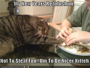 My New Years Rezulushun     Not To Steal Foo...Um To Be Nicer Kitteh