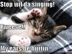 Stop wif da singing! Pweese!! My ears be hurtin...