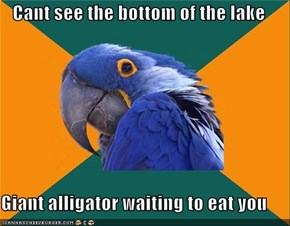Cant see the bottom of the lake  Giant alligator waiting to eat you