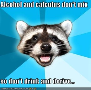 Alcohol and calculus don't mix  so don't drink and derive...